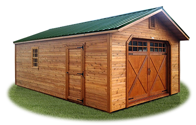 peak style single car garage with cedar siding
