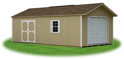 peak style single car garage with LP siding