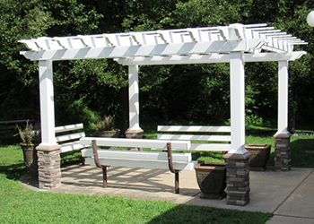 10' x 12' Traditional style vinyl pergola with optional stone pillars