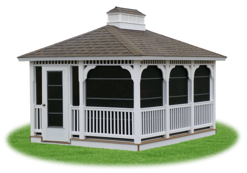 Enclosed Vinyl Rectangle Gazebo With Screens From Pine Creek Structures