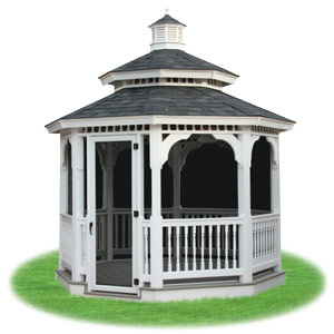 enclosed vinyl double roof octagon gazebo with screens from Pine Creek Structures