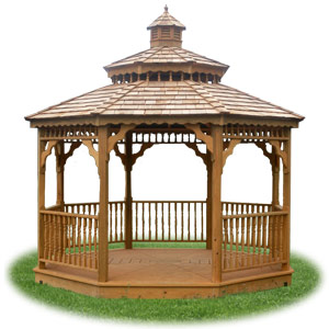 open wood double roof octagon gazebo from Pine Creek Structures