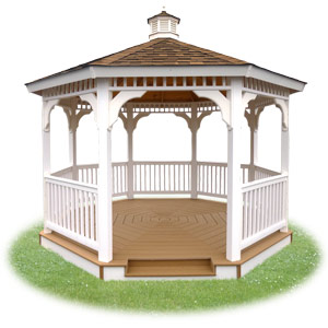 open vinyl single roof octagon gazebo from Pine Creek Structures