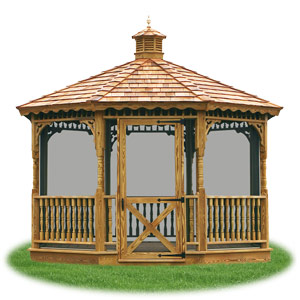 enclosed wood single roof octagon gazebo with screens from Pine Creek Structures