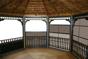 Pine Creek Structures Gazebo Options - Screens and Eze-Breeze Window Panels
