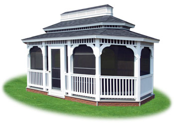 enclosed vinyl double roof oval gazebo with screens from Pine Creek Structures