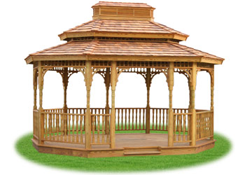 open wood double roof oval gazebo from Pine Creek Structures