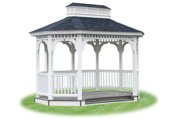 open vinyl single roof oval gazebo from Pine Creek Structures