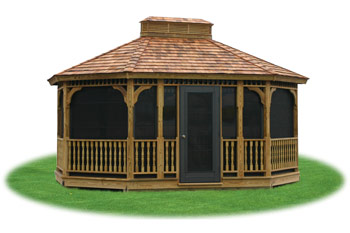enclosed wood single roof oval gazebo with screens from Pine Creek Structures