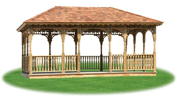 open wood rectangle gazebo from Pine Creek Structures