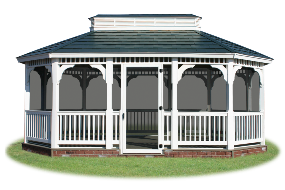 Screened In Vinyl Single Roof Oval Gazebo From Pine Creek Structures
