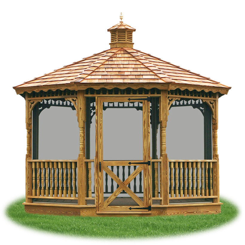 enclosed wood single roof octagon gazebo with screens from Pine Creek  Structures - Gazebos, Pergolas, & Pavilions Pine Creek Structures
