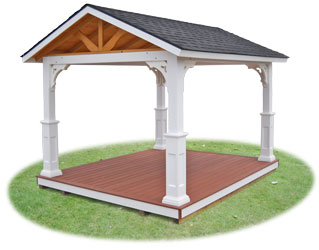 Vinyl pavilion with open gables, savannah posts, and floor
