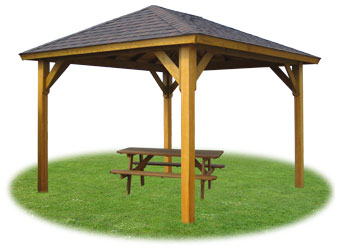 Vinyl pavilion with standard posts, no floor, and optional picnic table