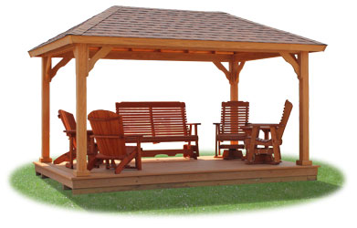 Vinyl pavilion with standard posts, floor, and optional wood patio furniture