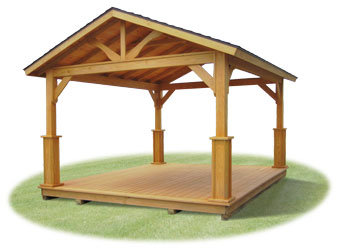 Vinyl pavilion with savannah posts, open gable ends, and floor
