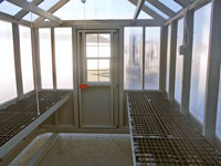 interior of 8x12 large prefabricated greenhouse from pine creek structures