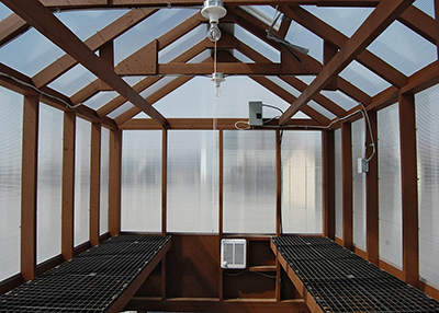 8x12 large prefabricated greenhouse interior from pine creek structures