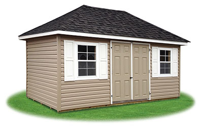 10x16 vinyl sided hip style storage shed from pine creek structures - Garden Sheds Vinyl