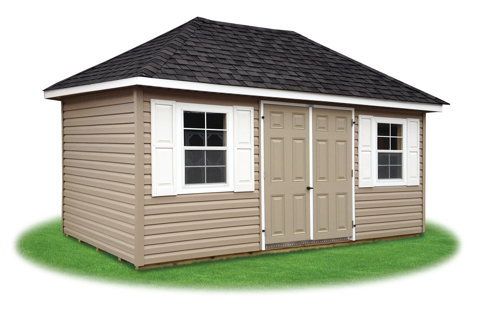 Cottage and hip style sheds pine creek structures for Vinyl storage sheds