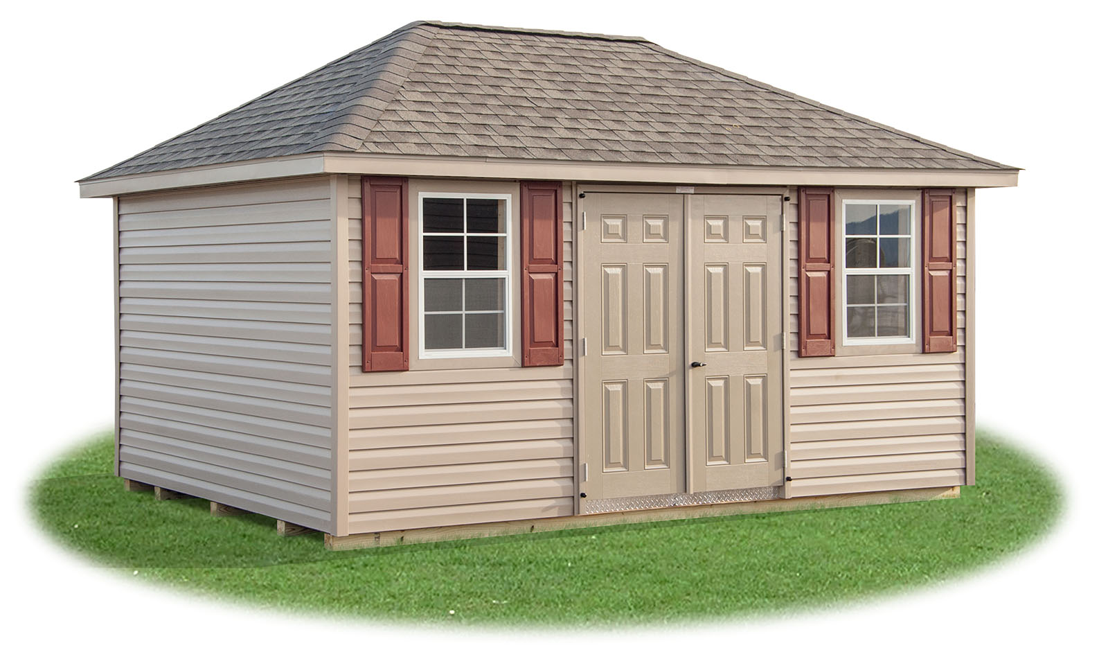 10x16 Vinyl Sided Hip Style Storage Shed From Pine Creek Structures