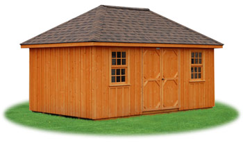 board n batten hip roof storage shed