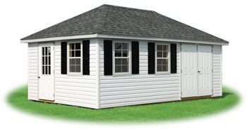 customized Vinyl hip roof storage shed