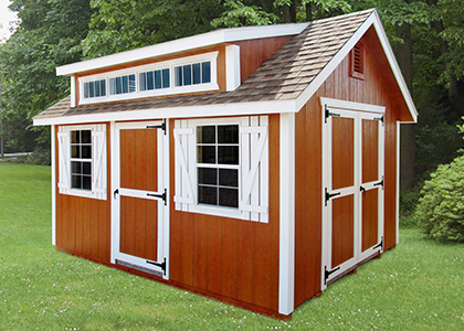 Pine Creek Structures storage shed with new cape dormer feature!