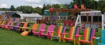 In stock poly outdoor patio furniture sale at pine creek structures