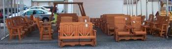 In stock wood outdoor patio furniture sale at pine creek structures