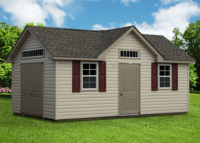 Pine Creek Structures storage shed with new colonial archtop fiberglass doors