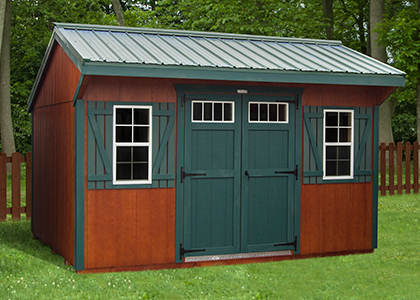 Pine Creek Structures storage shed with polyurethane color on LP SmartSide!