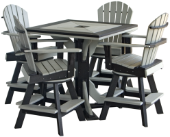 Show Off Your Shed Photo Contest first prize - poly outdoor patio pub table with four swivel chairs in colors of winner's choice