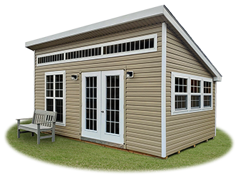 Custom Vinyl Lean To Style Home Office Building built by Pine Creek Structures
