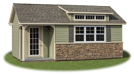 12x20 Custom Vinyl Cape Cod Style Home Office Building with Porch and Finished Interior built by Pine Creek Structures