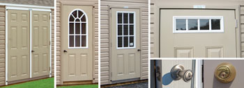 Pine Creek Structures options including fiberglass doors and house lock set and deadbolt