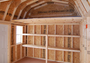 pine creek structures interior options including shelves and lofts