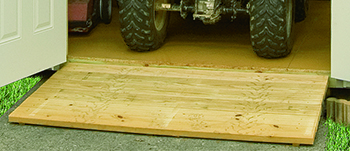 Pine Creek Structures storage shed options including pressure-treated wood ramps