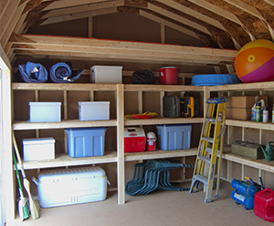 Pine Creek Structures interior options: Shelves and loft