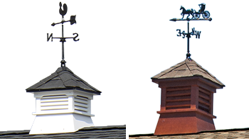 Pine Creek Structures venting options: wood and vinyl cupolas with weathervanes