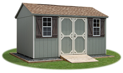 10 x 14 Side Entry Peak Storage Shed available at Pine Creek Structures