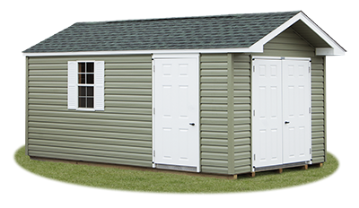 10x16 Vinyl Sided Front Entry Peak Storage Shed available at Pine Creek Structures