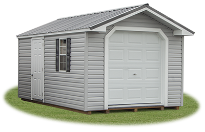 10x16 Customized Vinyl Sided Front Entry Peak Storage Shed available at Pine Creek Structures