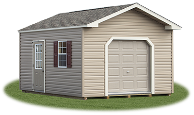 12x16 Custom Vinyl Sided Front Entry Peak Storage Shed available at Pine Creek Structures