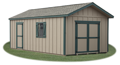 12x24 LP Board and Batten Sided Front Entry Peak Storage Shed available at Pine Creek Structures