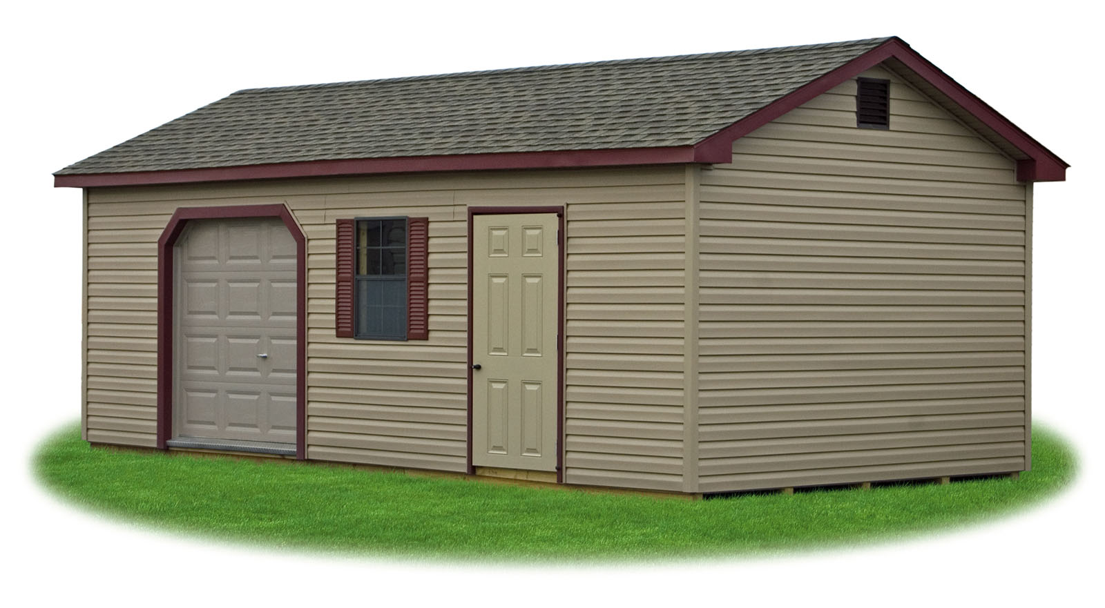 Peak 39 a 39 frame style sheds pine creek structures for Shed with garage door