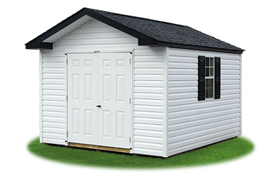 10x12 Vinyl Sided Front Entry Peak Storage Shed available at Pine Creek Structures