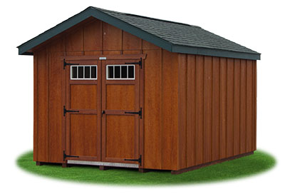 10 x 14 Front Entry Peak Shed Featuring rustic cedar polyurethane on LP Board 'N' Batten Smart Side siding