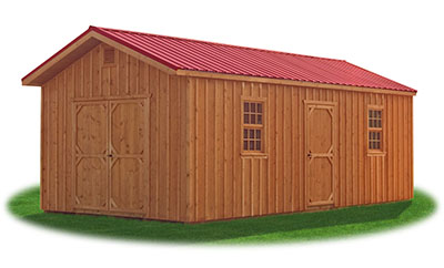 12x24 Board 'N' Batten Front Entry Peak Storage Shed available at Pine Creek Structures