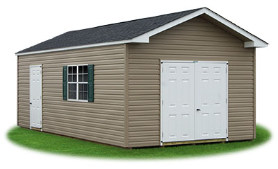 12x24 Vinyl Sided Front Entry Peak Storage Shed available at Pine Creek Structures